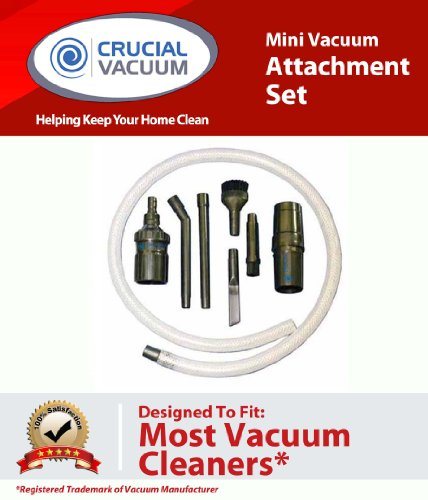 Vacuum Attachment Tool Set (Mini Micro Tool Attachment Set Fits ALL Vacuum Cleaners; Perfect for Hard-To-Reach Areas - Office Equipment, Computers, Car Detailing, Stereo Equipment, Video Equipment, Typewriters, Auto Interiors, Sewing Machines and more; Designed & Engineered By Crucial Vacuum)