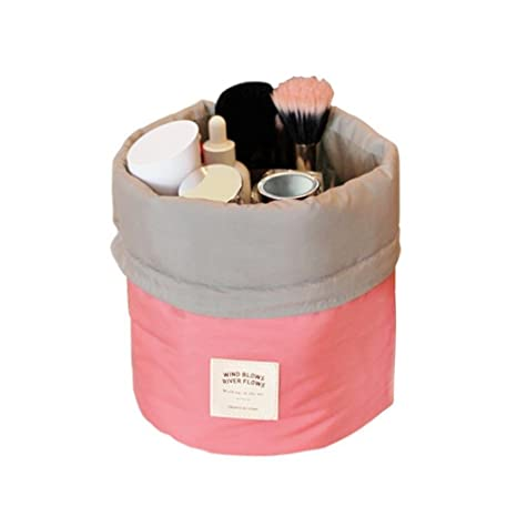Bucket Barrel Shaped Cosmetic Makeup Bag Travel Dresser Pouch  Multicolor    Multicolor Toiletry Kits