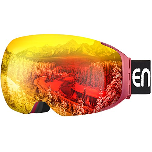 Enkeeo Ski Goggles Detachable Dual Layer Anti-Fog Lens 100% UV400 Protection, Bendable Frame, Anti-slip Strap with Comfort, Wind Resistant 3 Layers Foam for Adult Snowboarding Skating, Magnet Red (Rainbow Ski Boots)