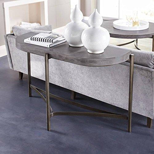 Modus Furniture A89423 Lyon Semi-Circular Concrete Metal Console Table, Medium Concrete (Lyon Metal)