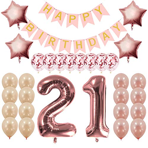 Rose Gold 21st Birthday Decorations Party Supplies Gifts for Her - Create Unique Events with Happy Birthday Banner, 21 Number and Confetti Balloons