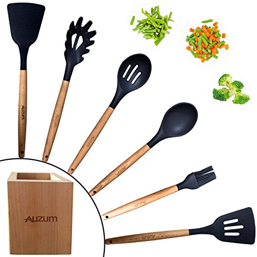 Kitchen Silicone Cooking Utensil Set – 7-piece Set with Holder – Kitchen Accessories and Gadgets – Gift Idea – FDA Approved, Spatula, Wood Handle, Slotted Spoon, Basting Brush, Non-Stick, BPA Free