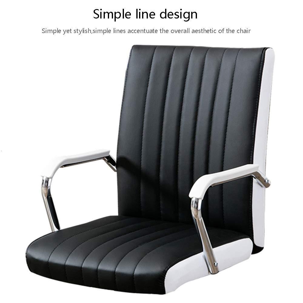 JIEER-C stol datorstol läder skrivbord spelstol rosett datorstol ergonomisk kontorsstol PU-läder tyg hög rygg fritidsstol för kontor kontor, svart Rosa