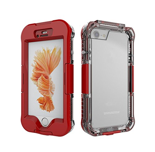 GBSELL Waterproof Shockproof Protective Case Full Cover For iphone 7 Plus (Red)