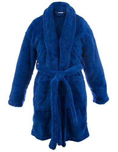 (BC BARE COTTON Kids Microfiber Fleece Shawl Robe - Boys - Royal Blue - Small )