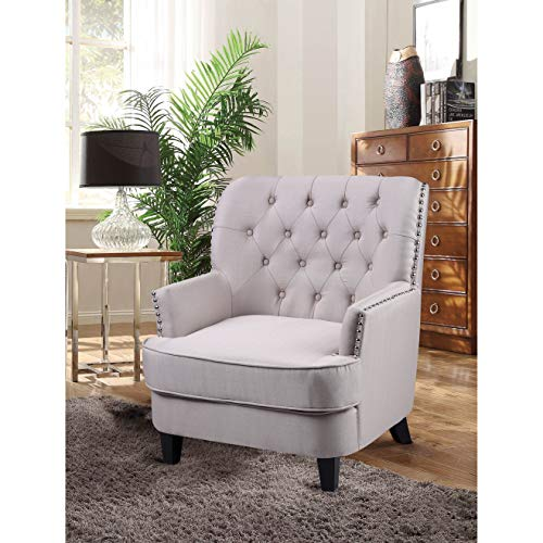 Best Master Furnitures ZH117 Fabric Living Room Arm Accent Chair Taupe