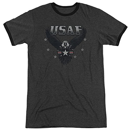 Air Force Incoming Unisex Adult Ringer T Shirt for Men and Women, Medium Charcoal