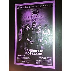 Hinder Finger Eleven Rare Portland Oregon Roseland Concert Tour Gig Poster