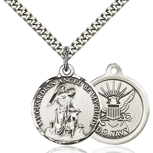 Sterling Silver Men's GUARDAIN ANGEL / NAVY Pendant - Includes 24 Inch Heavy Curb Chain - Deluxe Gift Box Included (Medal Angel Navy)