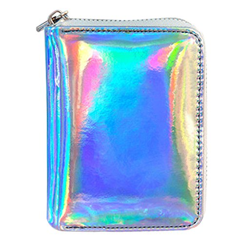 KINGSEVEN Women's Hologram Pu Leather Zip Around Card Wallet Small Clutch Purse