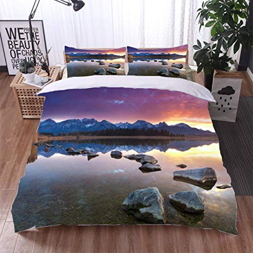 VROSELV-HOME King Duvet Cover Set,Tranquil Sunset at Lake hopfensee Bavaria allgaeu Germany,Soft,Breathable,Hypoallergenic,Bedding Set Cover with 2 Pillow Shams Decorative Quilt Cover Set