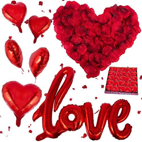 3200 Piezas Pétalos de Rosa, Kit de Pétalos de Rosa Rojos Artificiales, 50 Velas en Forma de Corazón y 5 Globos Corazón…