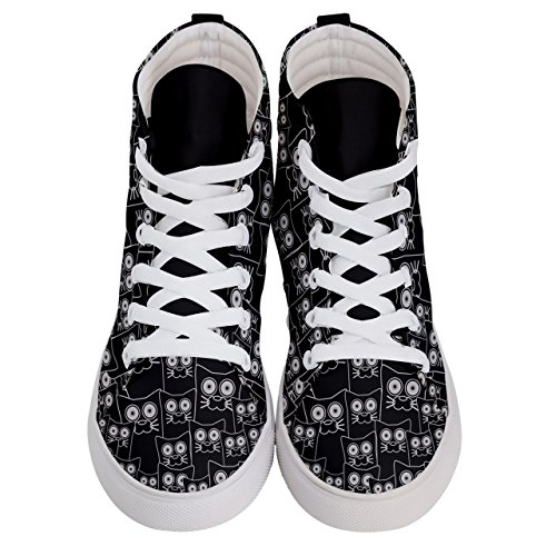 Face US10 2 Sneakers Full Top Funny Sizes Fashion Hi 5 Themes Skate US5 CowCow Cat Womens Black OWaBXzf