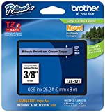 Genuine Brother 3/8'' (9mm) Black on Clear TZe P-touch Tape for Brother PT-1280, PT1280 Label Maker