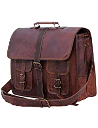 Passion leather 16 Inch Men's Sturdy Leather Messenger Cross Body Laptop Briefcase Satchel Mens Bag