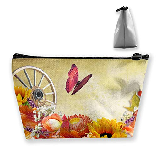 Makeup Bag Cosmetic Leaf Wagon Flower Butterfly Portable Cosmetic Bag Mobile Trapezoidal Storage Bag Travel Bags with Zipper