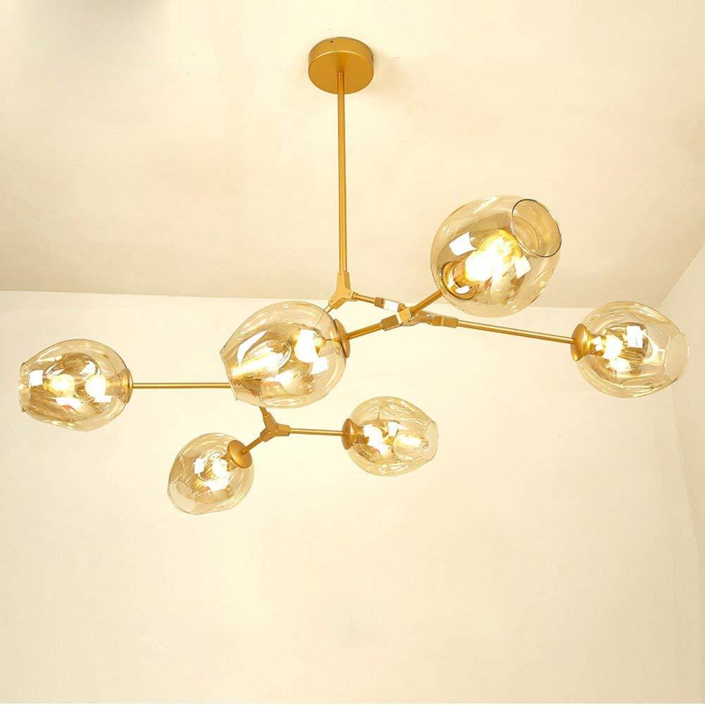 Modern gold pendant light glass chandelier with 6 lights fixture