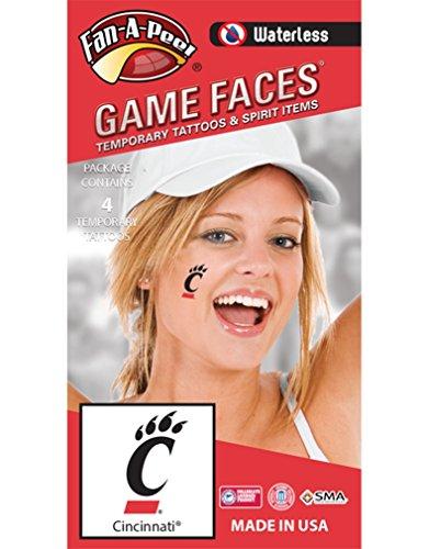 - Fan A peel University of Cincinnati (UC) Bearcats - Waterless Peel & Stick Temporary Spirit Tattoos - 4-Piece - Black C Paw Logo