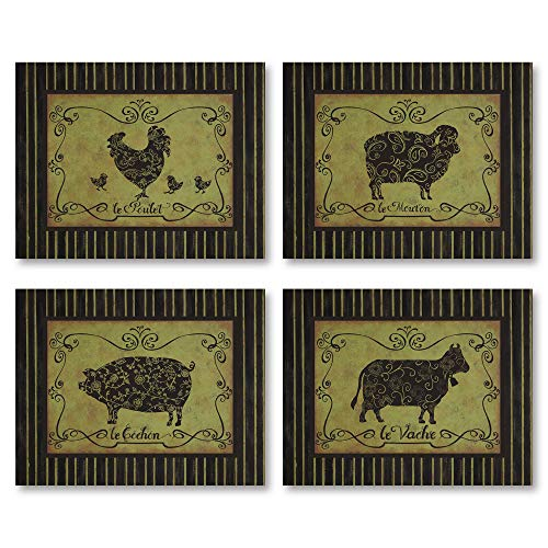 Vintage French Farm Animals; Sheep Chicken Pig Cow Set; Four 14X11 Poster Prints
