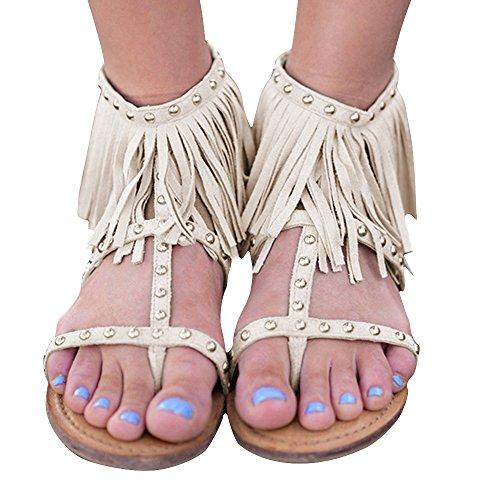 Remache Gladiador con con Zapatos Planas Mujer Poplover Sandalias Bolars Beige Cremallera Verano Oqp7vv