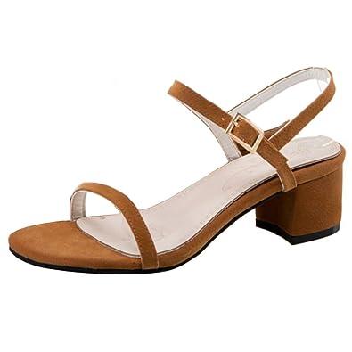 Chicmark Dress Blockabsatz Sandalen Peep Toe Sommer Bogen Schuhe mit Absatz