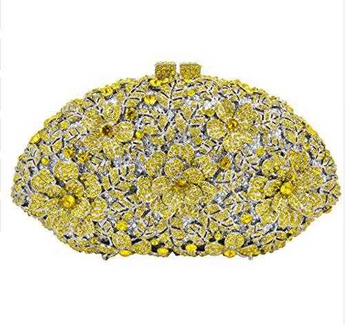Gelb Wedding Rhinestone Luxury Bag Evening Flower GAOXIA Pattern Evening Bag Clutch Fashion Women Crystal Shoulder Diamond Bag RwOxda0