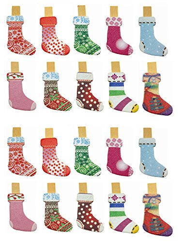 QTMY 20 Pcs Christmas Stocking Wooden Clip Hanging Photos with Twine Halloween Decoration Supplies Favors (Christmas socks) -