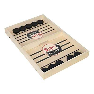 Wooden Desktop Hockey Table Battles Game for Kids and Adults, Catapult Chess Bumper Chess Portable Hockey Interactive Game Set for Family Party Gift (Khaki): Toys & Games