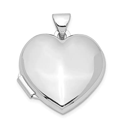 897d836d31b Image Unavailable. Image not available for. Color  Sterling Silver 18mm Polished  Heart Locket