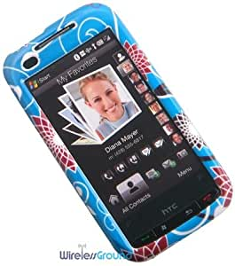 HTC Touch Pro2 (Verizon Wireless) Phone Protector Case with Optional Belt Clip - Red Flower on Blue