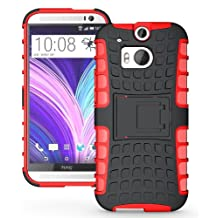 [Diablo] JKase HTC The All New One Plus (M8) / HTC One 2 Case Protective [Ultra Fit] Tough Rugged Dual Layer Protection Case Cover with Build in Stand for HTC (2014) - Retail Packaging (Red)