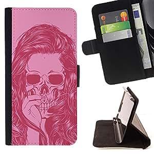 BullDog Case - FOR/LG OPTIMUS L90 / - / PINK SKULL GIRL WOMAN VIGNETTE DEATH /- Monedero de cuero de la PU Llevar cubierta de la caja con el ID Credit Card Slots Flip funda de cuer
