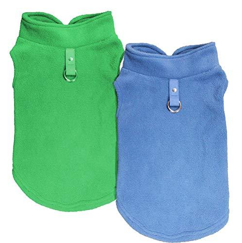Dog Coat Clothes, Chol & Vivi Dog Coat Cold Weather Fleece Vest Soft and Warm, 2pcs Dog Jacket Fit for Small Medium Extra Large Size Dog Puppy Pet, Medium Size, Blue and Green