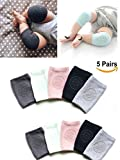 5 Pairs Baby Crawling Anti-Slip Knee, Unisex Baby Toddlers Kneepads,Adjustable Knee Elbow Pads Crawling,Safety Protector for 9 months - 2 years