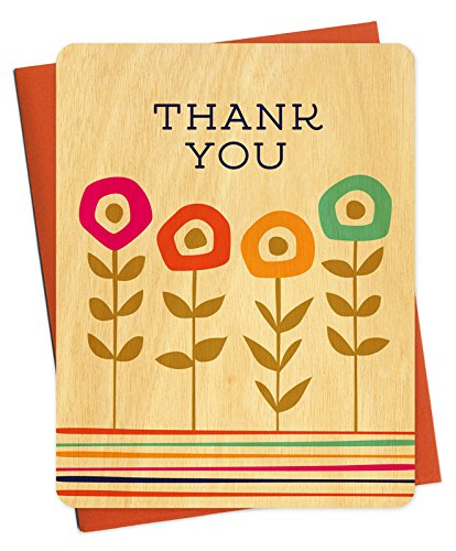 Night Owl Paper Goods Gummy Flowers Real Wood Thank You Cards, Set of 6
