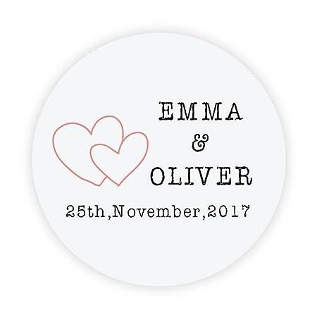 Ekunstreet 48x personalised 40mm wedding engagement favour stickersfavour double heart stickerinvitation