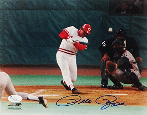 Pete Rose Autographed Photograph - 8x10 Swinging PF Auth *Blue - JSA Certified - Autographed MLB Photos