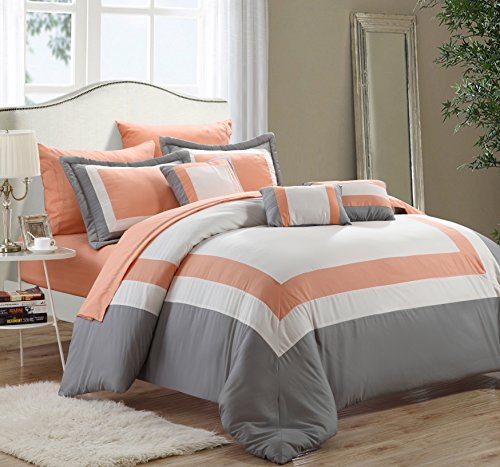 Peach Comforter Sets (Chic Home 10-Piece Duke Bed in a Bag, Queen, Peach)