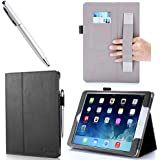 iPad Air Case, i-BLASON Apple iPad Air Case Auto Wake/ Sleep Smart Case Leather Case (Elastic Hand Strap, Multi-Angle, Card Holder) With Bonus Stylus (Multi-Color to Choose From) 3 Year Warranty (Black)