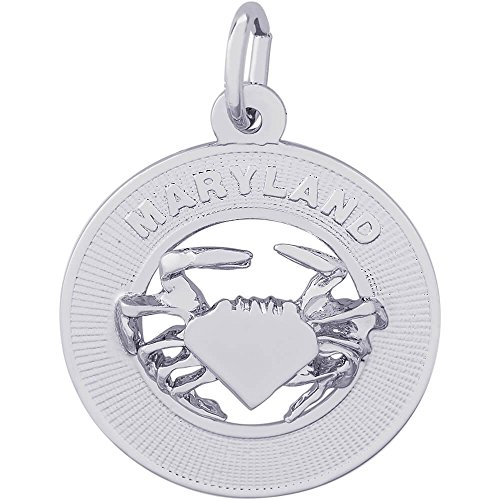 Rembrandt Charms Sterling Silver Maryland Crab Disc Charm (19 x 19 mm)