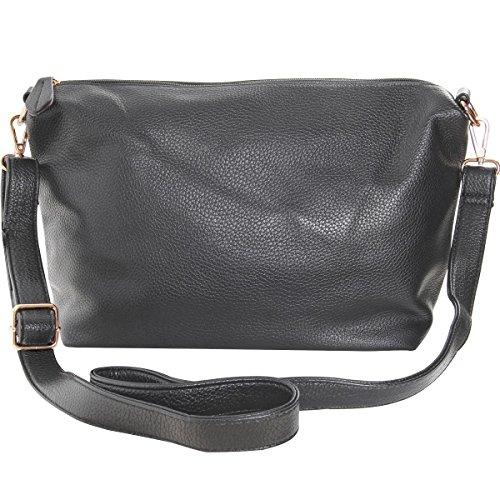 Humble Chic Crossbody Bag - Vegan Leather Satchel Messenger Hobo Handbag Shoulder Purse, Charcoal Grey, Dark Gray
