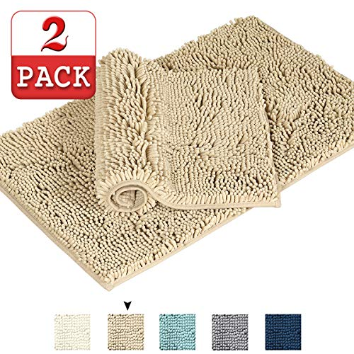 Taupe Rugs for Bathroom Oversize Bath Rug Super Soft Bath Mat Microfiber 2 Pack Shag Bathroom Rugs Non Slip Absorbent Bath Mats for Floors Fast Drying Bathroom Carpet(Beige 17