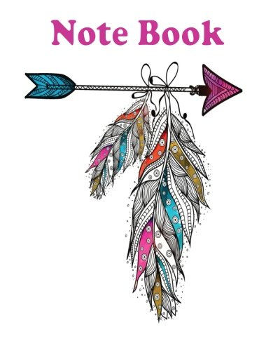 Notebook: Boho style ornamental feathers hanging on arrow Creative hand drawn ethnic elements : Notebook Journal Diary, 120 Lined pages, 8