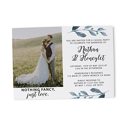 Elopement Reception Invitation Cards with Photo- Celebrate The Love, Custom Wedding Celebration Cards, Wedding Reception Favors, Be Unique with This Dazzling Floral Theme Set of ()