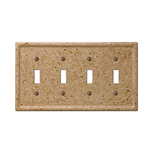 Travertine Switchplates - Tumbled Faux Stone 4 Quad Toggle Switch Wall Plate, Noce Resin
