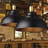 BAYCHEER HL371891 Industrial Retro style Iron 11.8'' Wide Antique Rust Loft Fixture Pendant Lights Lamps with 1 Light, Black