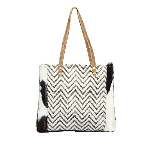 Myra Bag Chevron Cross Upcycled Canvas & Cowhide Tote Bag S-1375 ()