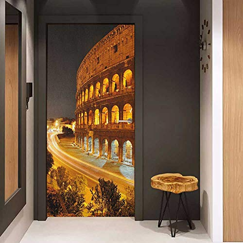 Onefzc Front Door Sticker Italy Colosseum at Night Scenery Rome European City Heritage Monument Landscape for Home Decor W23.6 x H78.7 Amber Marigold Black