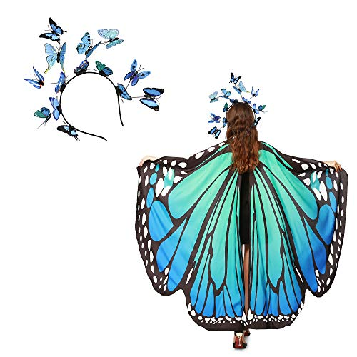 Family Friendly Womens Halloween Costumes (Women Butterfly Wings Shawl with Mask Fairy Ladies Cape Nymph Pixie Halloween Costume Set (1-Butterfly Headband and)