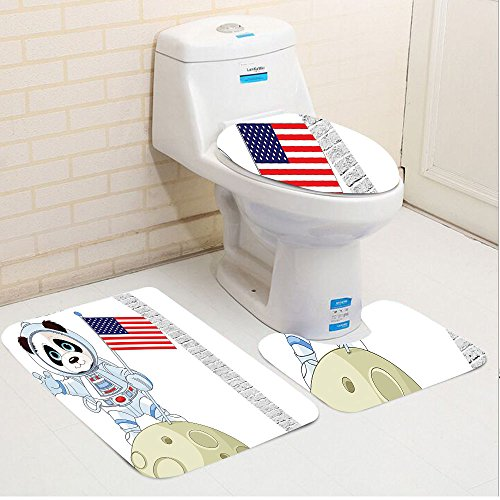 Keshia Dwete Three Piece Toilet Seat Pad Customanimal Panda Astronaut On The Moon Holding Usa Flag Moonwalk Imagination Fantasy Picture Red Navy White
